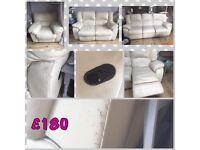 Cream leather recliner sofas