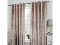 Oyster colour crushed velvet look curtains