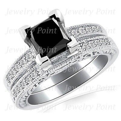 2 09Ct Princess Black Diamond Matching Engagement Wedding Ring Set 14 White Gold