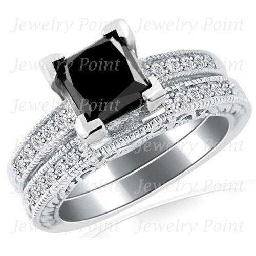 2.09ct Princess Black Diamond Matching Engagement Wedding Ring Set 14 White Gold