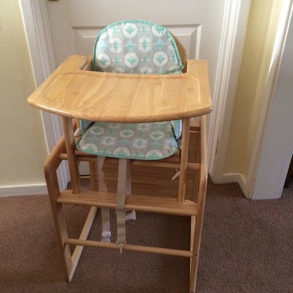 East Coast Wooden High Chair Turns Into Table And With Insert