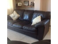 Soft leather 3 seater sofa and reclining chair