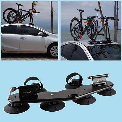 Car SUV Vans 2-Bike Fork Mount Roof Rack Bicycle Carrier w/ Rear Wheel Strap New