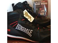 Boxing boots bag punch, gym, fitness, weights, and hand wraps