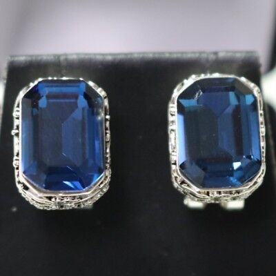 Cut Blue Sapphire Earrings - Vintage Carved Antique Blue Radiant Cut Sapphire Earrings 14K White Gold Plated