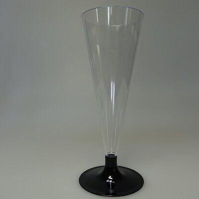 48 Einweg Sektgläser Champagnergläser Sektglas 0,1 l Plastikglas schwarz
