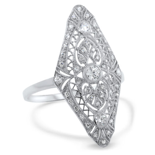 ART DECO ANTIQUE STYLE .925 STERLING SILVER CZ RING,                        #572