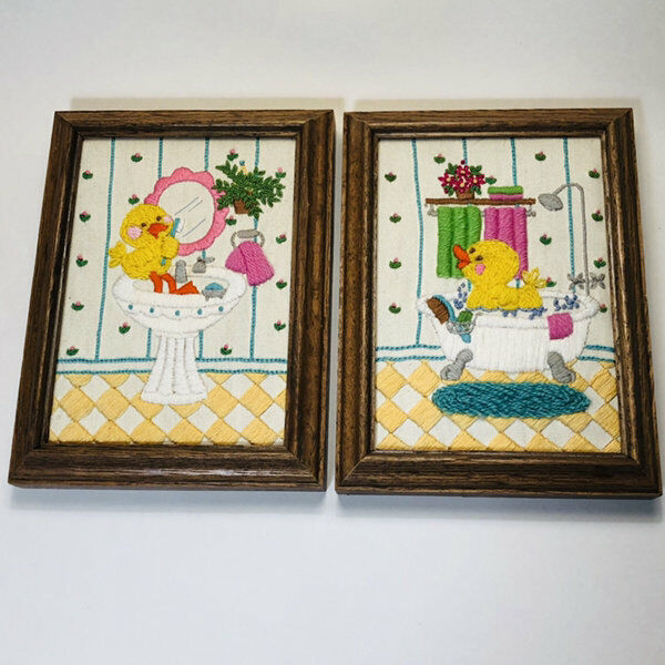 Duckies in The Bathroom Hand Embroidered 5x7 Picture Pair