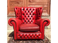 Vintage CHESTERFIELD OXBLOOD LEATHER Armchair CAN DELIVER