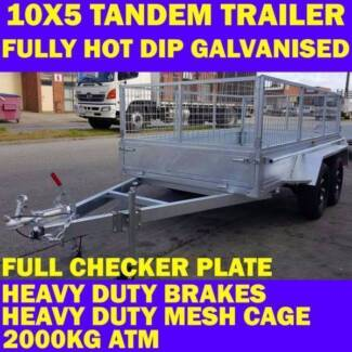 10x5 tandem trailer fully galvanised heavy duty wth cage 2000kg 1