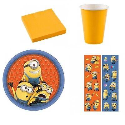 Minions Party Set Kindergeburtstag Teller Becher Despicable Me Stuart Sticker