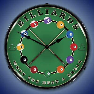 New old style LIGHT UP pool balls BILLIARDS WHEN YOU NEED A BREAK clock 🎱🎱🎱