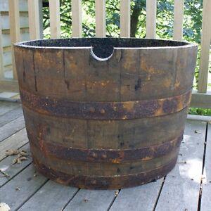 Wooden half barrel planter ebay for Whiskey barrel bathtub