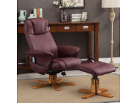 Monaco Swivel Recliner and Stool with Heat and Massage chair