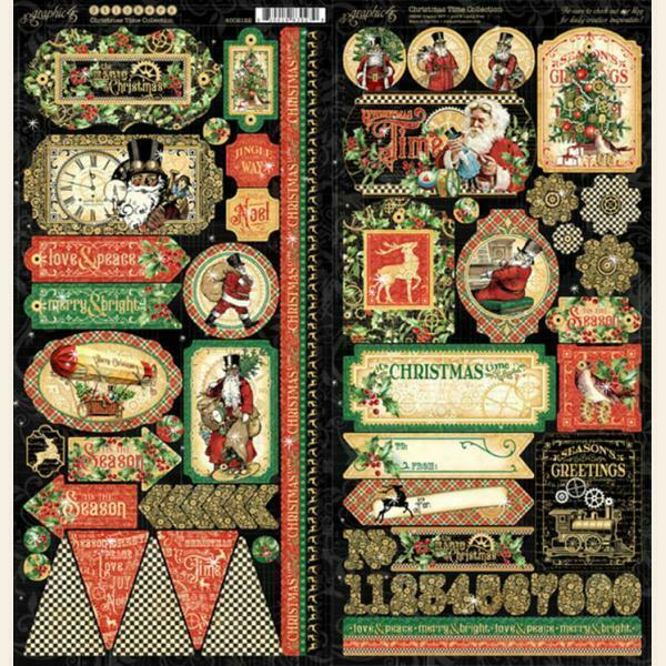 Graphic 45 CHRISTMAS TIME Stickers Vintage Santa Mixed Media Scrapbook