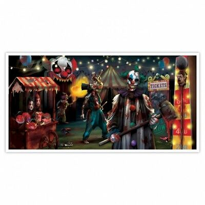 Halloween Creepy Carnival Clown Spooky Circus Wall Scene Setter Decorations