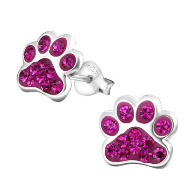 Paw Print Fuschia Rose Pink Crystal .925 Sterling Silver Stud Post Earrings