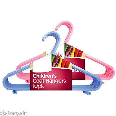 10 x CHILDREN'S PLASTIC CLOTH HANGERS IN BLUE PINK CHILD BABIES BOYS KIDS COAT