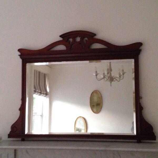 Large over mantle antique vintage bevelled mirror sold for Mantle mirror