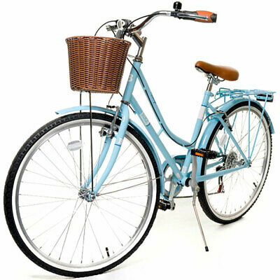 "Classic 18"" Ladies Heritage Blue Retro 26"" wheel 6 Speed Girls Bike Cycle"