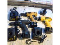 3 Dewalt 12v Battery drills, 1 is badged ELU