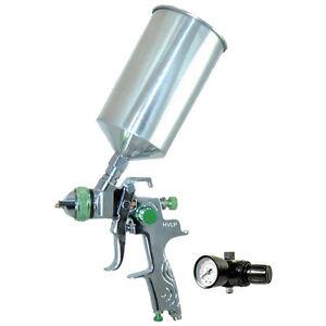 hvlp gravity feed spray gun w regulator auto paint primer metal flake. Black Bedroom Furniture Sets. Home Design Ideas