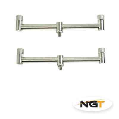 2 NGT Stainless Steel Buzz Bars 2 ROD 20CM Fixed Carp Fishing Buzzer Bars