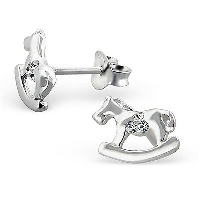 Children's Girls 925 Sterling Silver Rocking Horse Ear Studs with Crystal-Boxed