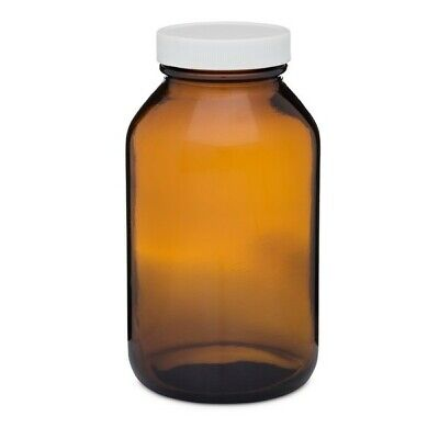 New 16 Oz. Amber Glass Bottle With Wide Mouth Lid
