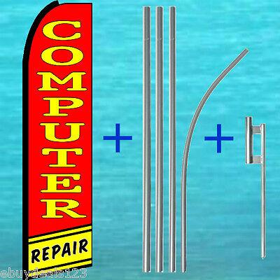 Computer Repair Swooper Flag 15 Pole Mount Kit Flutter Feather Banner Sign