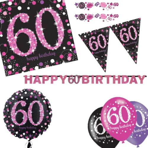 60th Pink Sparkling Celebration Birthday Age Tableware, Decorations and Balloons