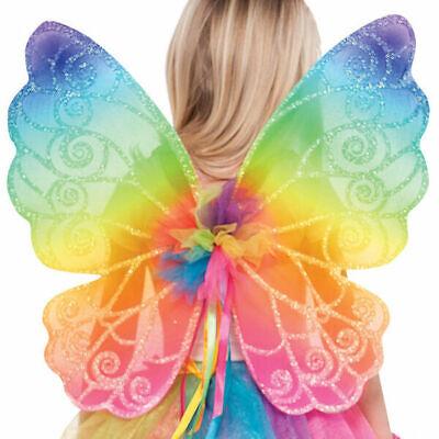 Child Rainbow Fairy Wings Girls Fancy Dress Accessory New by