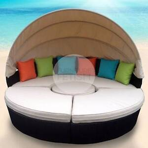 Rattan Wicker Large Day Bed with Canopy (4pce) Outdoor Furniture Nerang Gold Coast West Preview