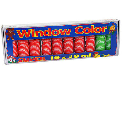 10x Window Color Window-Color Set Groß Fenstermalfarben 80ml Farben 270012