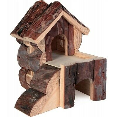 TRIXIE 2 Storey Bjork House with Ramp Natural Wood Hamster Guinea Pig Hide House 3