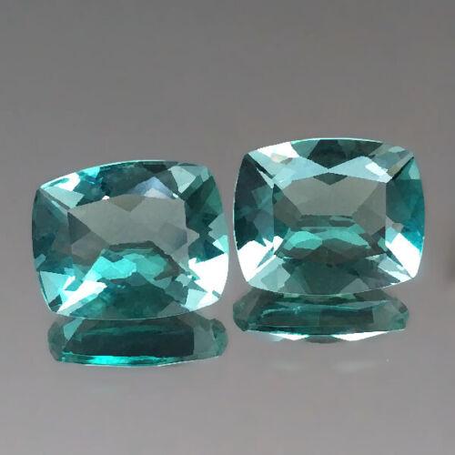 7.75cts 11x9mm Fine Cushion Pair Green Natural Fluorite Loose Genuine Gemstones