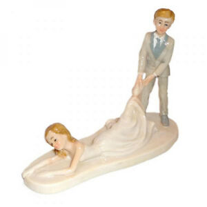 bride dragging groom wedding cake toppers comical groom dragging wedding cake topper ebay 12132