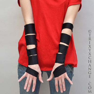 Cut Out Gloves Black Arm Sleeves Covers PVC Mens Steampunk Costume Wet Look Sexy