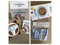Nintendo Wii Mariokart game, wheel and Nintendo WiiSports Resort with MotionPlus