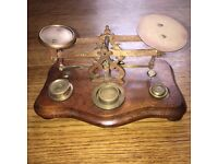 Postal Scales in Brass Antique from 1871 with weights