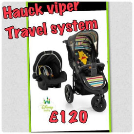 NEW HAUCK VIPER 2 IN 1 TRAVEL SYSTEM WINNIE THE POOH ALL TERRAIN PRAM PUSHCHAIR & CAR SEAT NOW £120