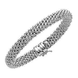 925 sterling silver ITALIAN popcorn mesh domed bangle bracelet 14 gr 8mm 7.25