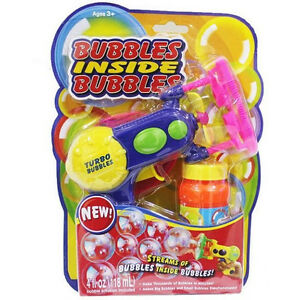 Bubble Gun Turbo BUBBLES INSIDE BUBBLES Blower Machine Double Bubbles Free Post