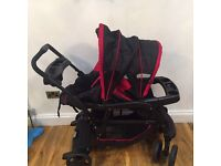 Graco double pushchair-red and black