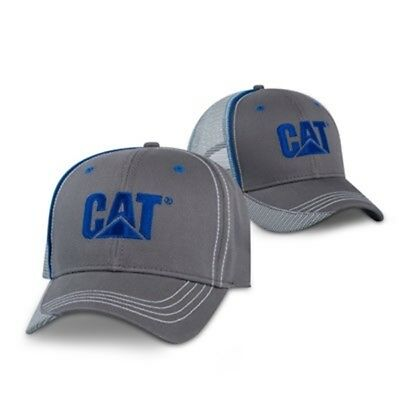 Caterpillar CAT Equipment Charcoal & Blue Twill Mesh Snapback Cap/Hat
