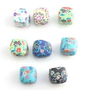 30x 110899 Mixed New Square Charms Colorful Flower FIMO Polymer Clay Beads 11mm