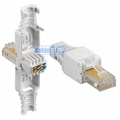 2 x Cat 5e RJ45 Ethernet Cable Connector NEW - NO CRIMPING...