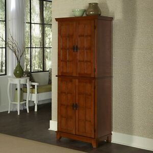 Kitchen mission style arts crafts oak pantry cabinet linen for Arts and crafts storage cabinet