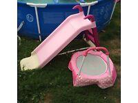 Pink slide and trampoline
