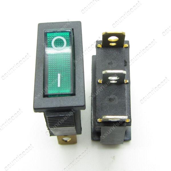 2 × Green 3 Pin SPST ON-OFF Light Illuminated Rocker Boat Switch 2 Posistion